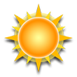 Sunshine and warm. High around 87F. Winds up to 24.2 mph.