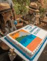Gabriel Lavan-Ying cuts the cake