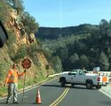 Road crew doing one-way traffic control at Lake Tulloch Bridge