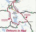 Hwy 120/James E Roberts Bridge Detours