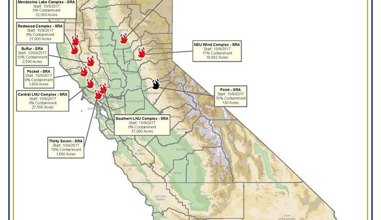 10/11/17 CA Active Fire Map