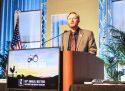 Shaun Crook speaking at the California Farm Bureau Federation Annual Meeting in Garden Grove