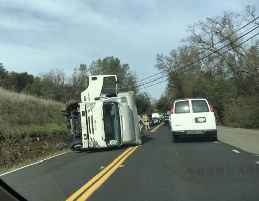 Update: Overturned Truck On Highway 49 | myMotherLode com