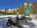 Snowmobiling by Hwy 108 in Summit Ranger District