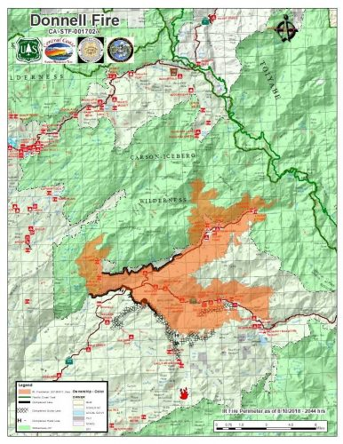 Donnell Fire map 8-11-18
