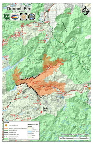 Donnell Fire map 8-12-18