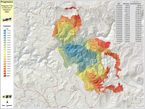 Ferguson Fire propgression map 8-3-18