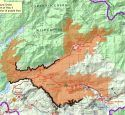 Map of Donnell Fire - black shows containment lines