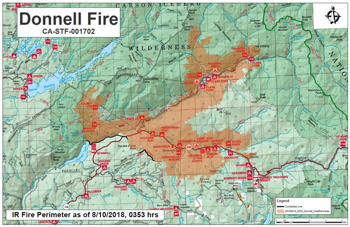 Donnell Fire Update Map Closing In On Atv Camp