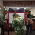 Voters filling out ballots at Tuolumne County Elections Office in Sonora