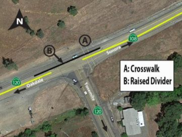"""Caltrans """"High T"""" intersection construction plan at HWY 108-120 intersection"""
